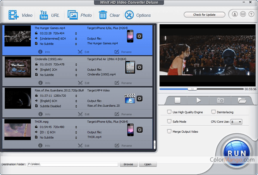 WinX HD Video Converter Deluxe Capture D'écran