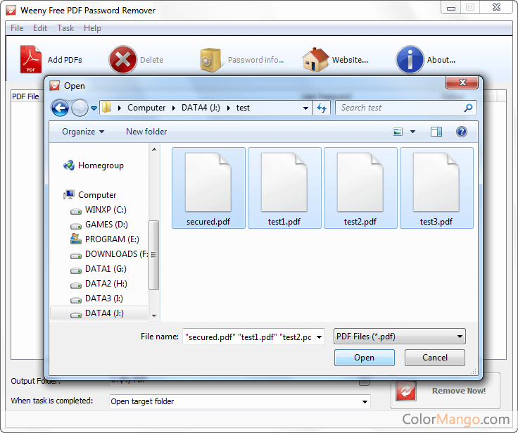 Weeny Free PDF Password Remover Screenshot