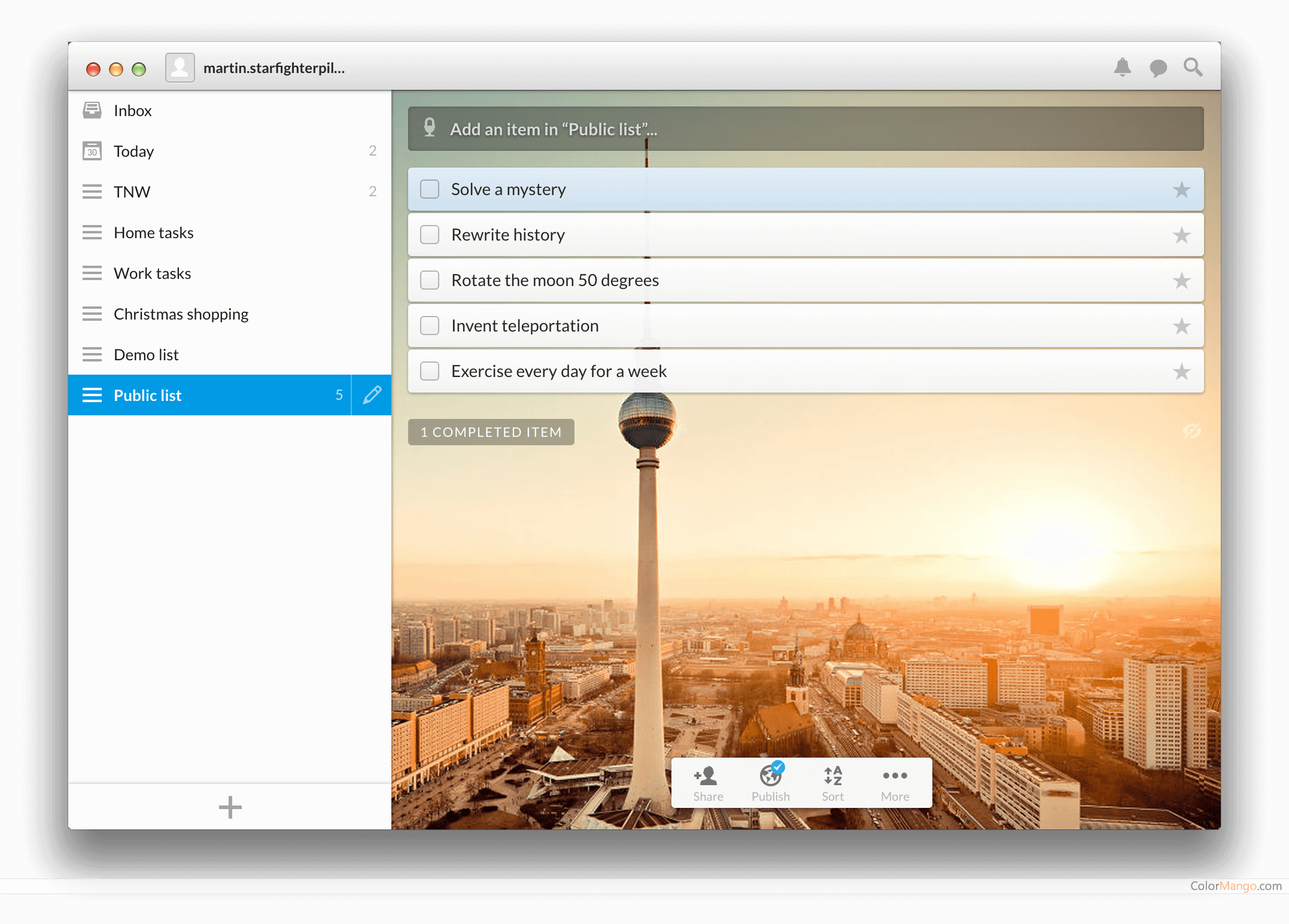 Wunderlist Screenshot