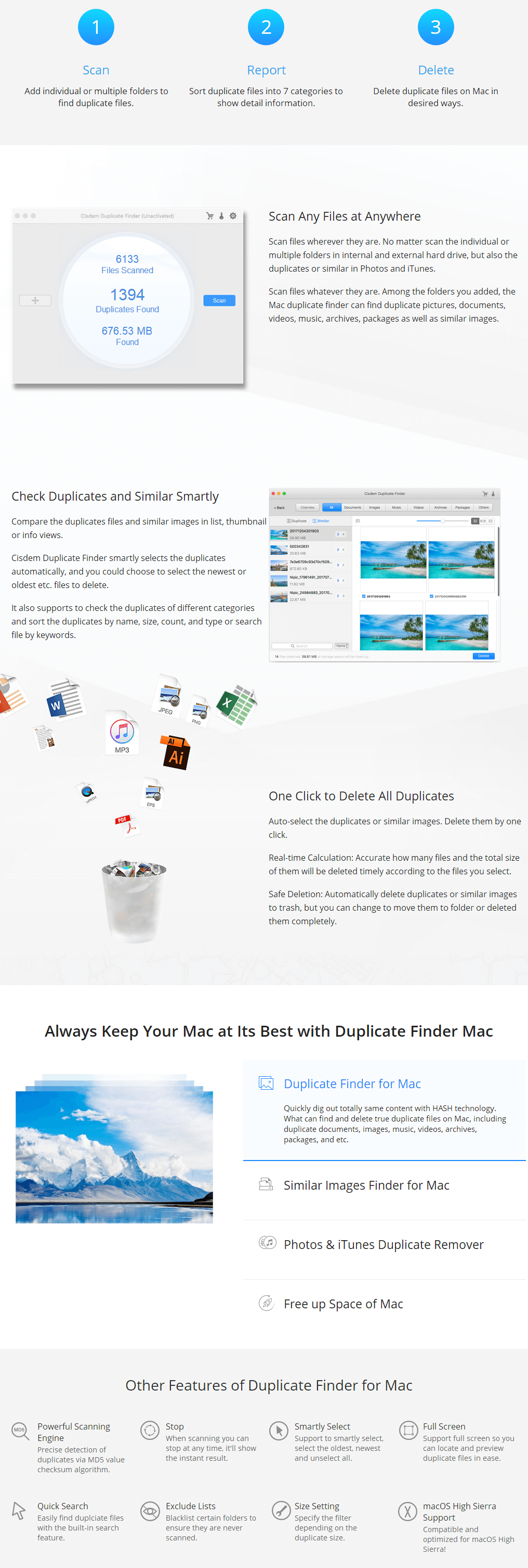 Cisdem Duplicate Finder for Mac Feature