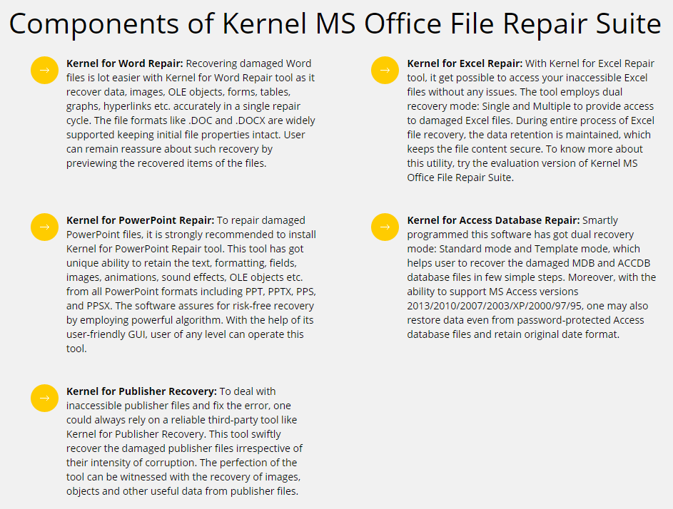 Kernel MS Office File Repair Suite Feature