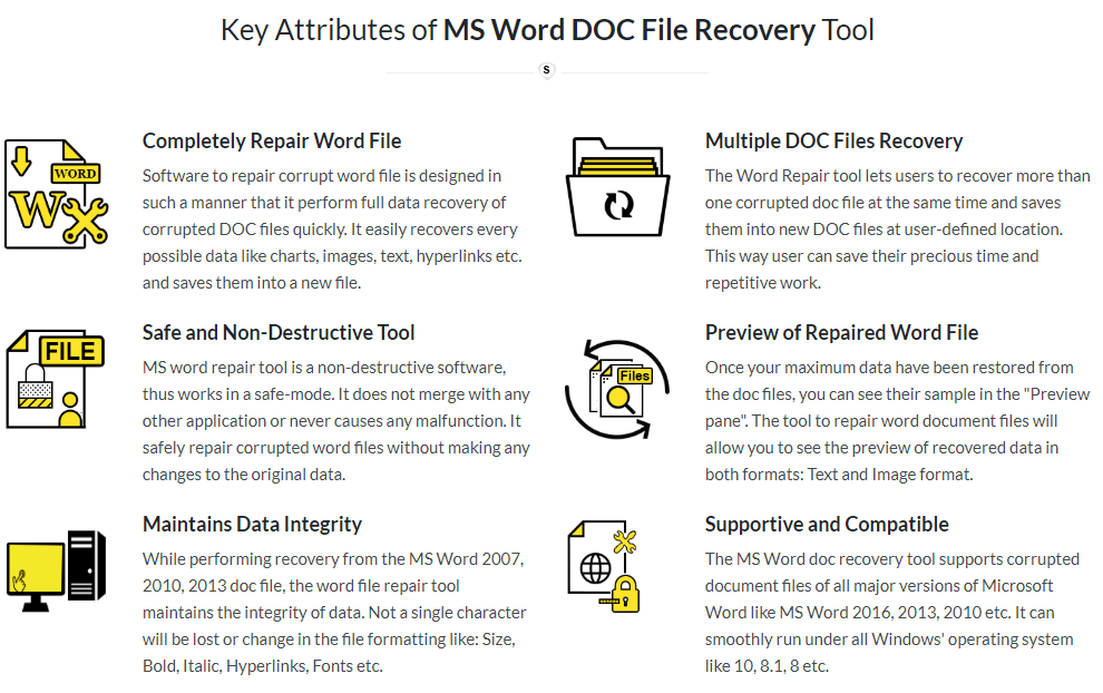 SysInfoTools MS Word Repair Tool Feature
