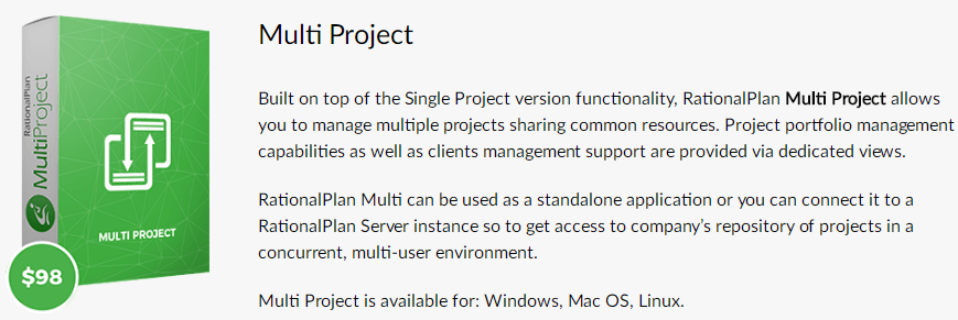 RationalPlan Multi Project Feature