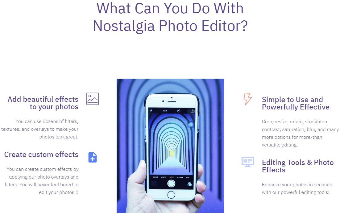 Nostalgia Photo Editor Fonctionnalité