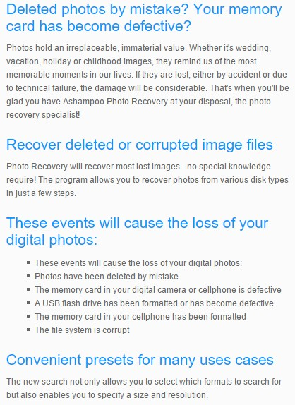 Ashampoo Photo Recovery main Features