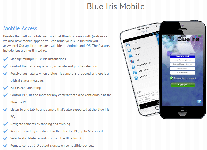 Blue Iris mobile feature