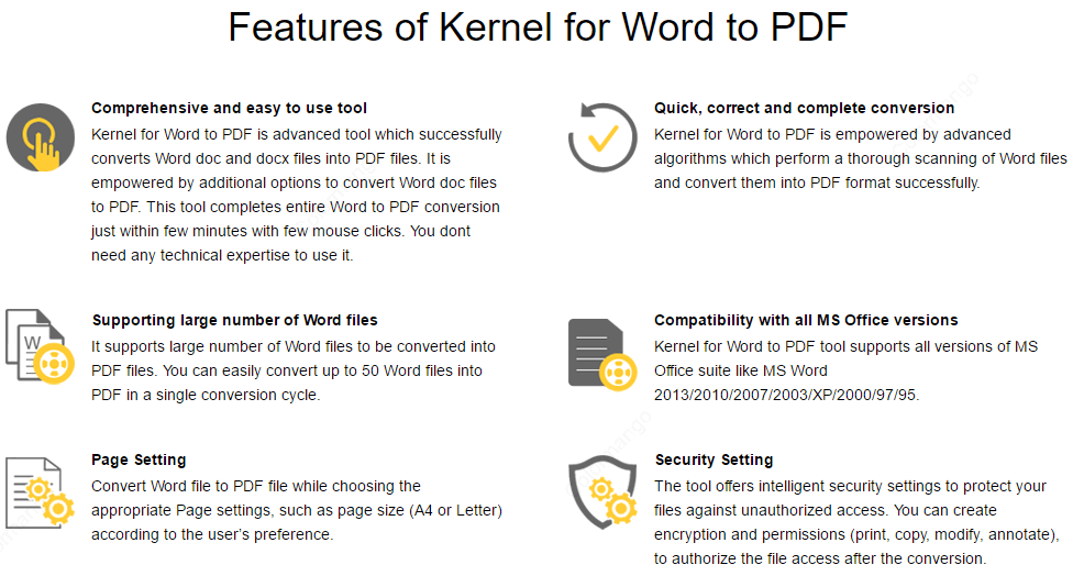 Kernel for Word to PDF key Features