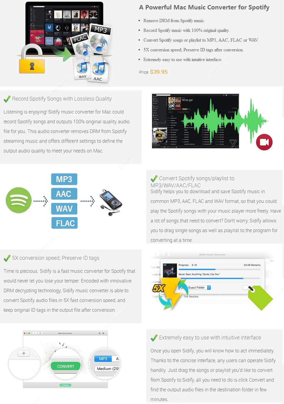 Sidify Music Converter for Spotify key Features