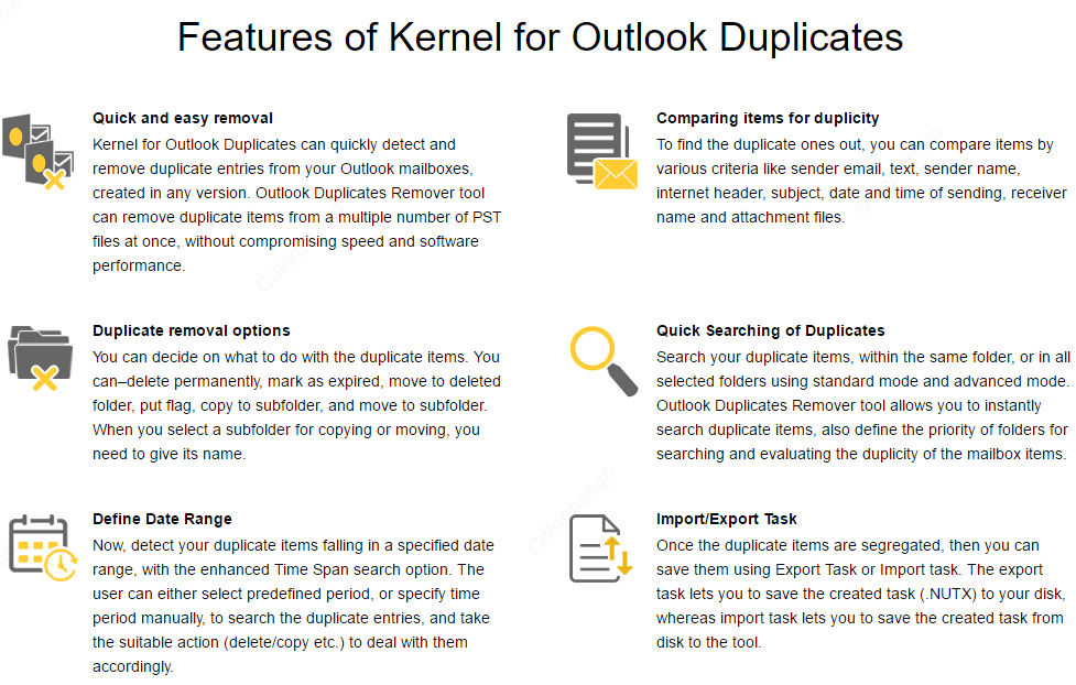 Kernel for Outlook Duplicates Remover key Features