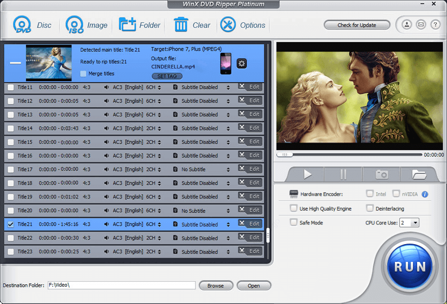 WinX DVD Ripper Platinum Capture D'écran