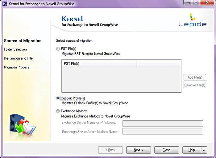 Kernel for Exchange to GroupWise Capture D'écran