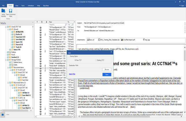 Stellar Converter for Windows Live Mail Capture D'écran