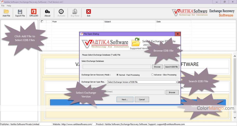 Vartika EDB to PST Converter Screenshot