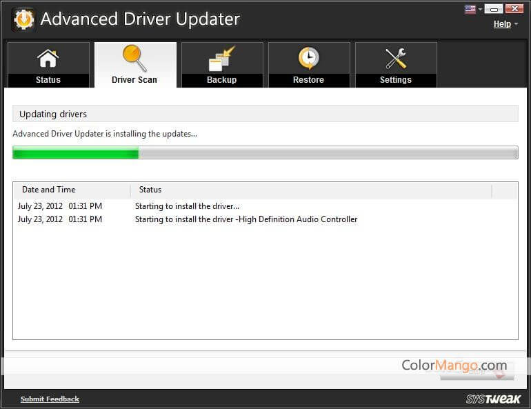 Advanced Driver Updater Capture D'écran