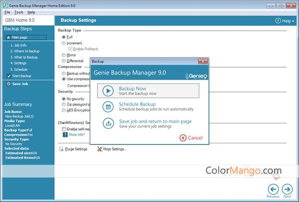 Genie Backup Manager Home Screenshot
