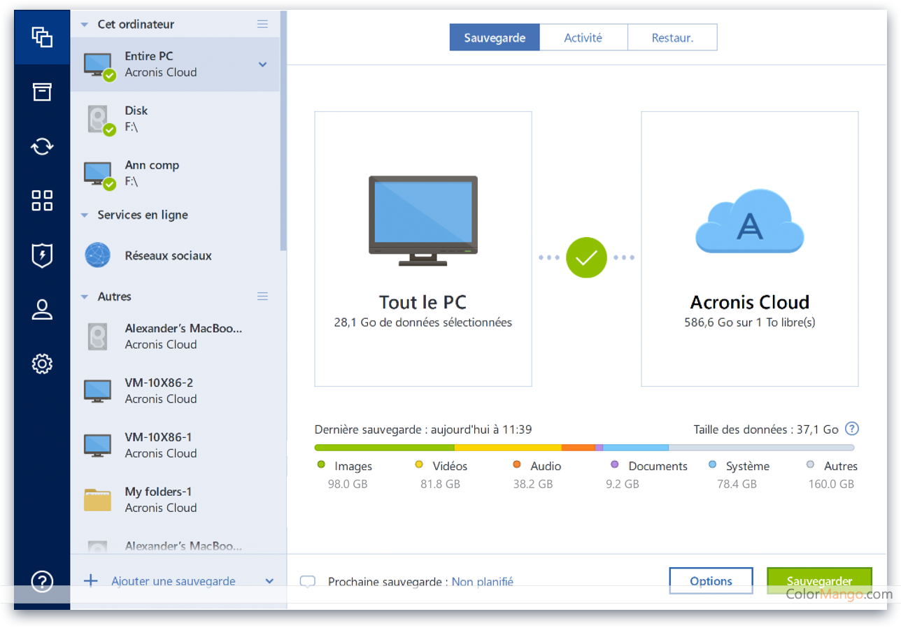 Acronis True Image Capture D'écran