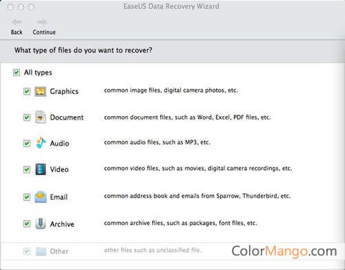 EaseUS Data Recovery Wizard for Mac Screenshot