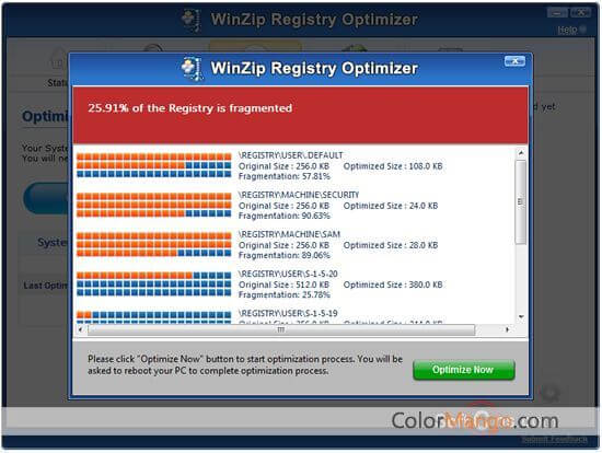 WinZip Registry Optimizer Screenshot