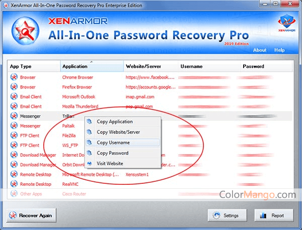 XenArmor All-In-One Password Recovery Pro Screenshot